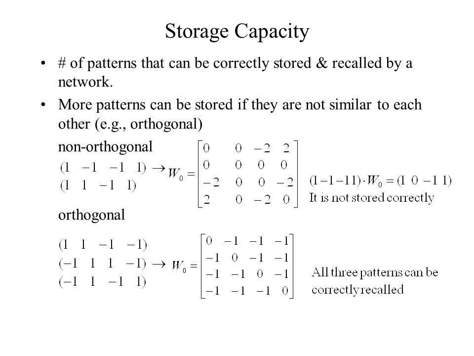 Storage Capacity # of patterns that can be correctly stored & recalled by a network.