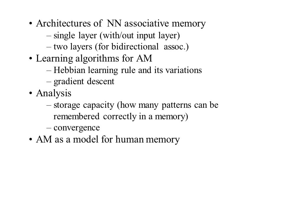 Architectures of NN associative memory