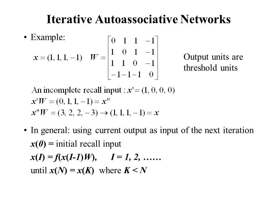 Iterative Autoassociative Networks