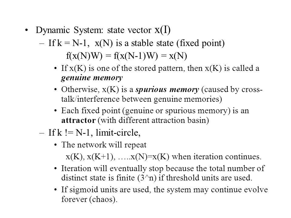 Dynamic System: state vector x(I)