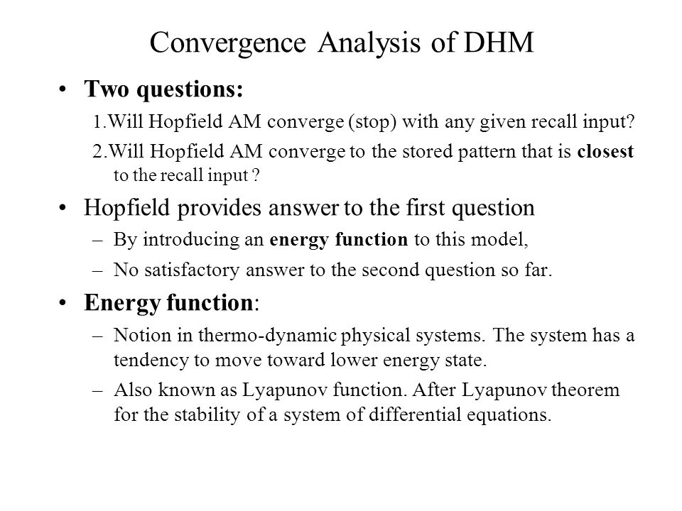 Convergence Analysis of DHM