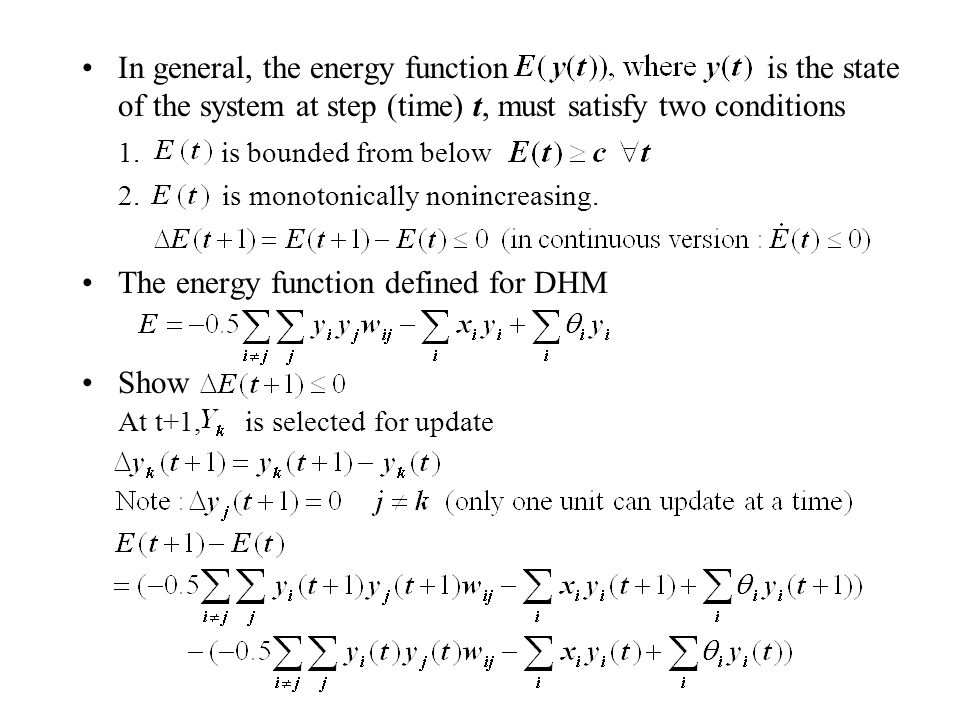 The energy function defined for DHM Show