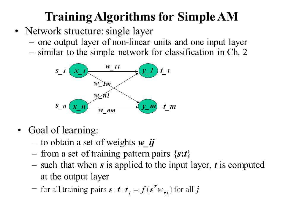 Training Algorithms for Simple AM