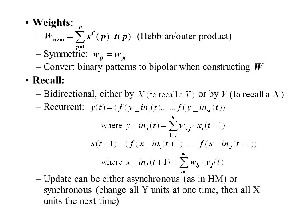 Weights: Recall: (Hebbian/outer product) Symmetric: