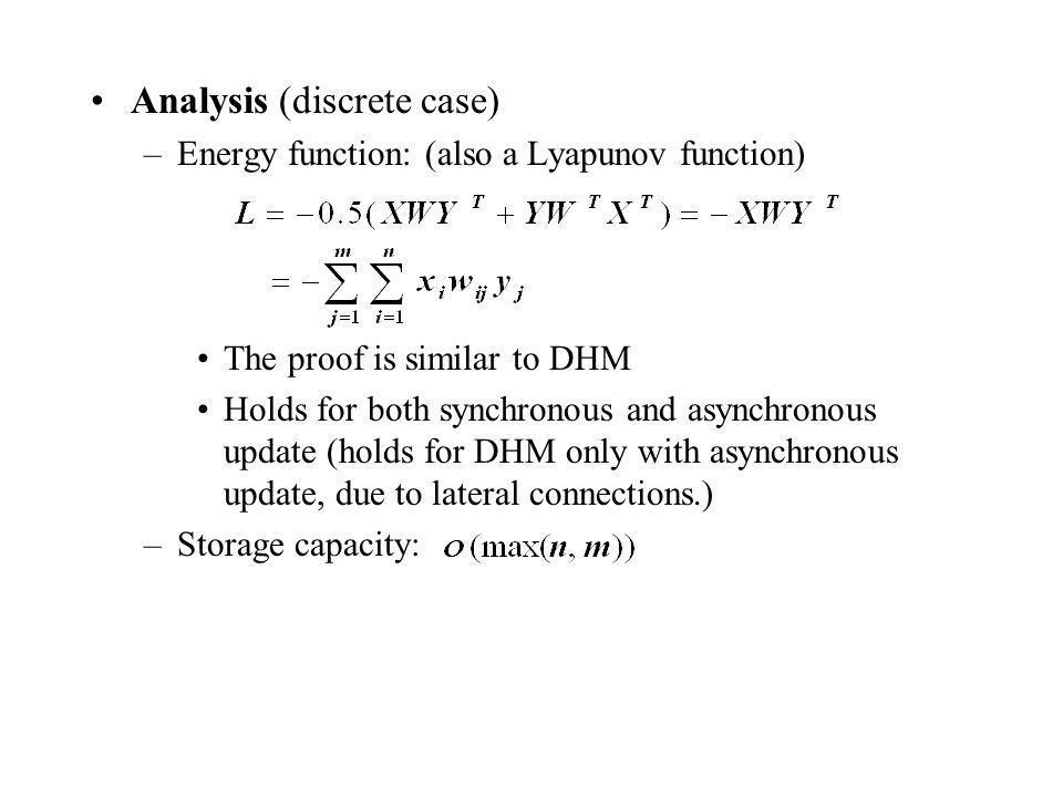 Analysis (discrete case)