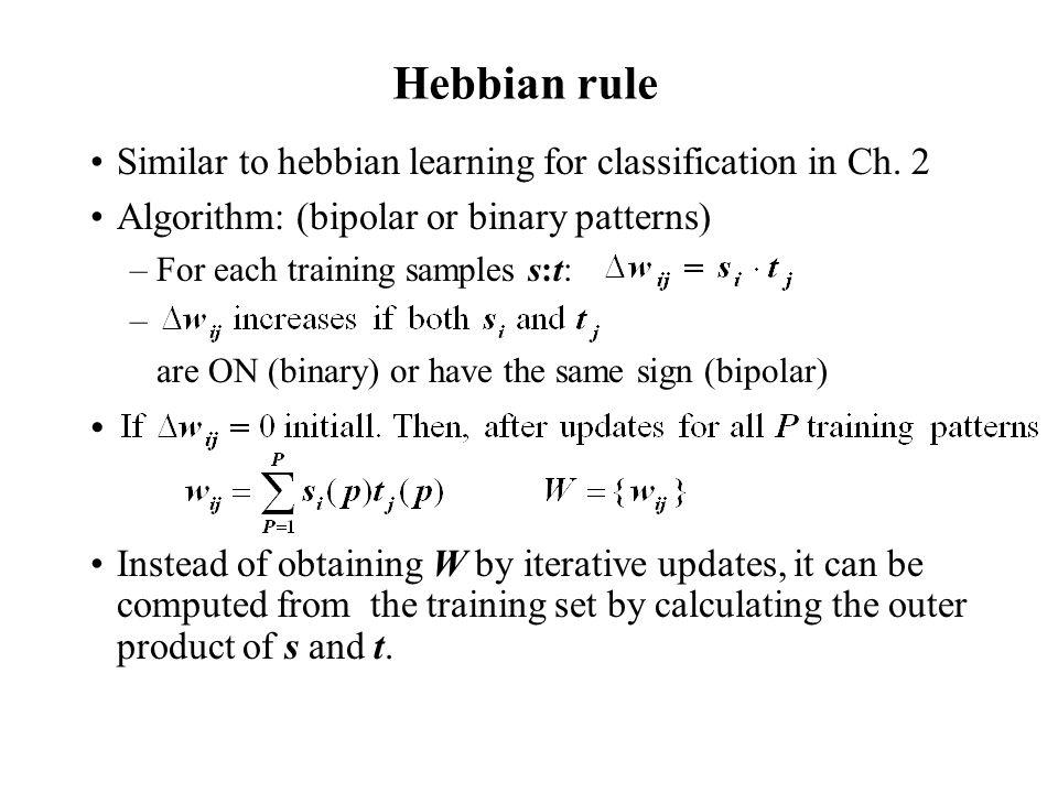 Hebbian rule Similar to hebbian learning for classification in Ch. 2