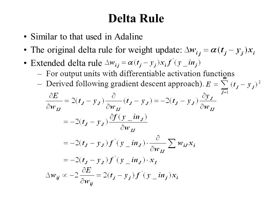 Delta Rule Similar to that used in Adaline
