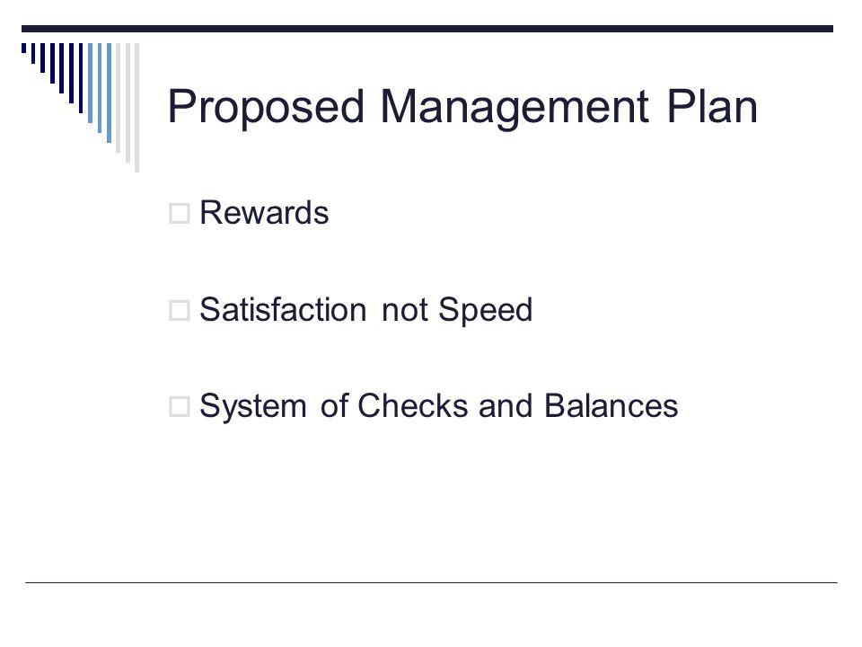Proposed Management Plan