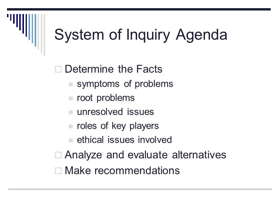 System of Inquiry Agenda
