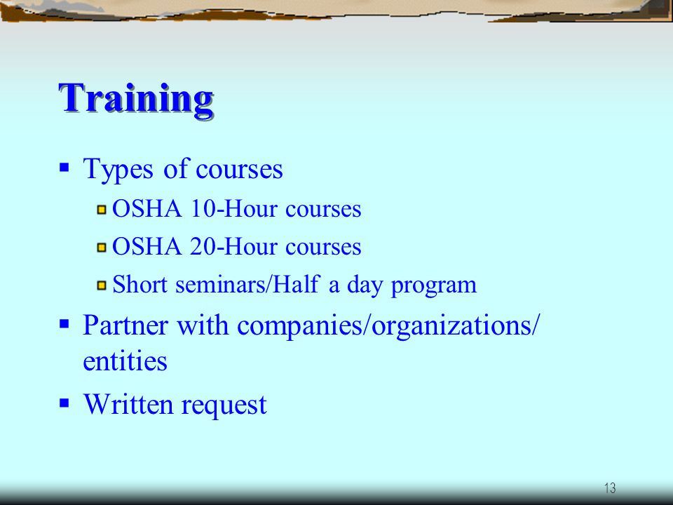 Training Types of courses