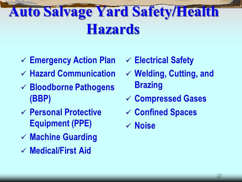 Auto Salvage Yard Safety/Health Hazards