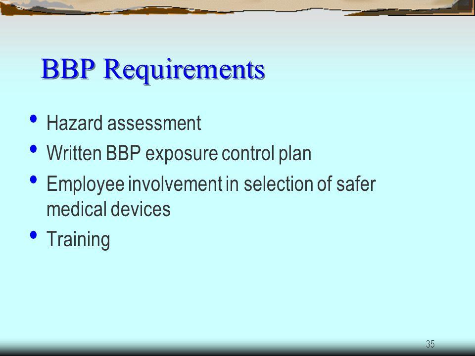 BBP Requirements Hazard assessment Written BBP exposure control plan