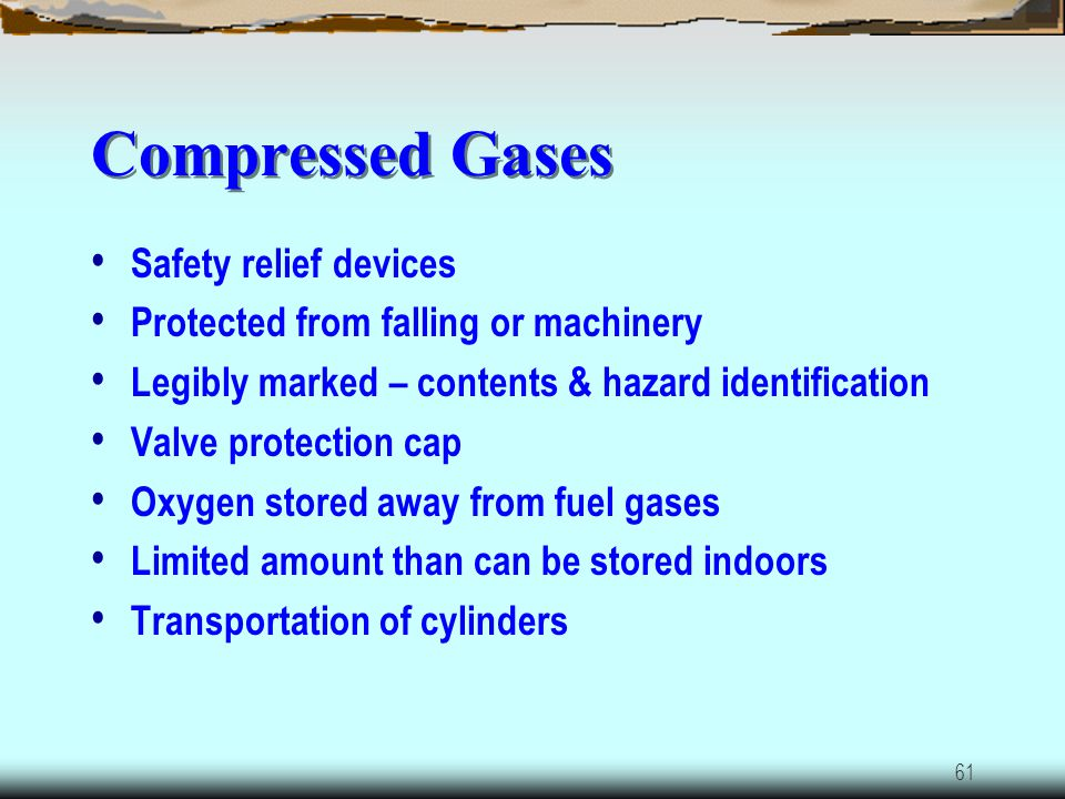 Compressed Gases Safety relief devices