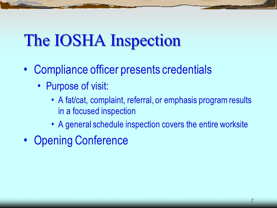 The IOSHA Inspection Compliance officer presents credentials