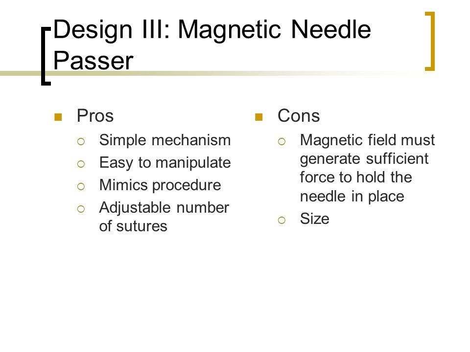 Design III: Magnetic Needle Passer
