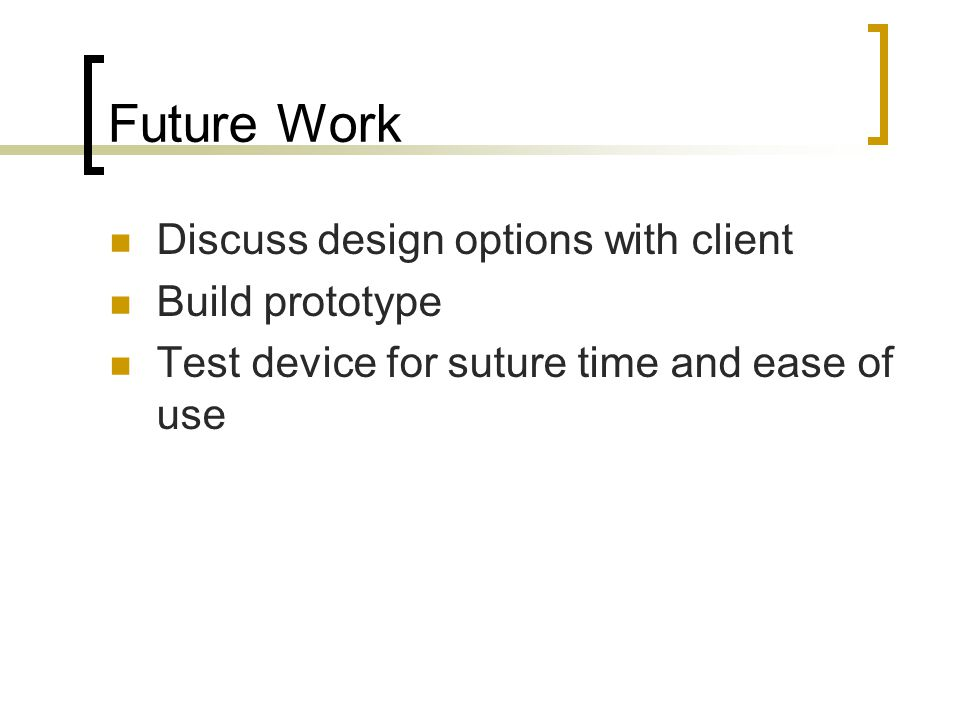 Future Work Discuss design options with client Build prototype