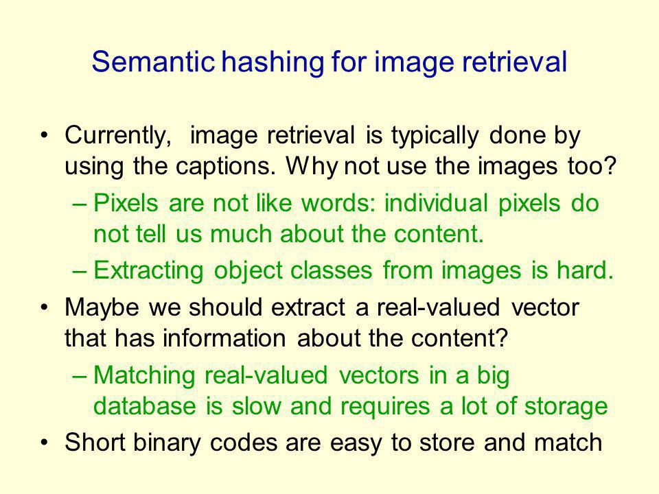 Semantic hashing for image retrieval