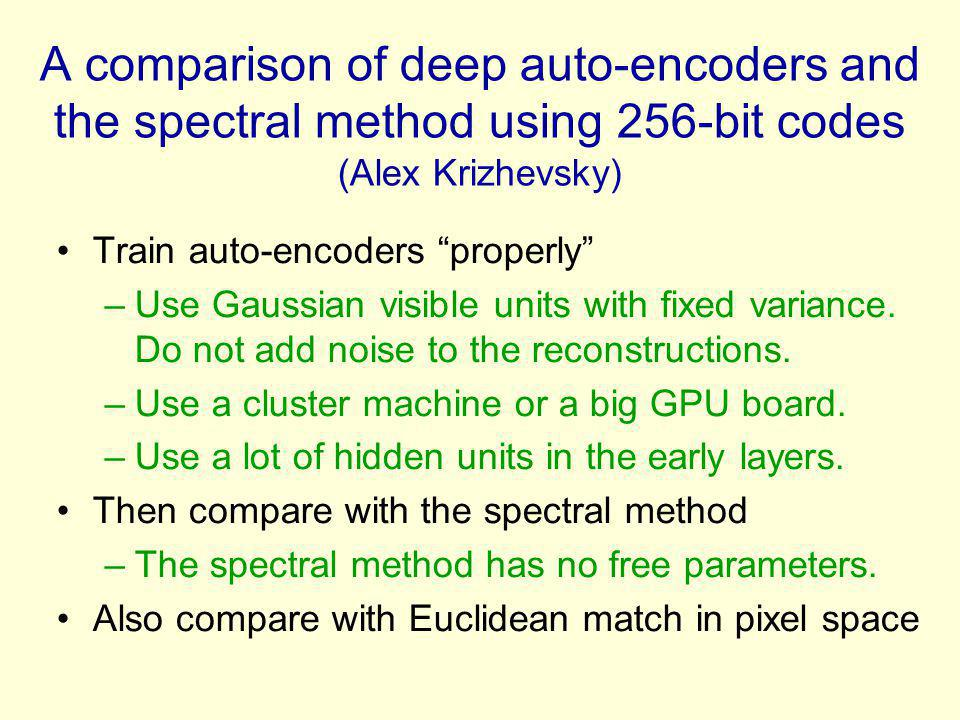 A comparison of deep auto-encoders and the spectral method using 256-bit codes (Alex Krizhevsky)