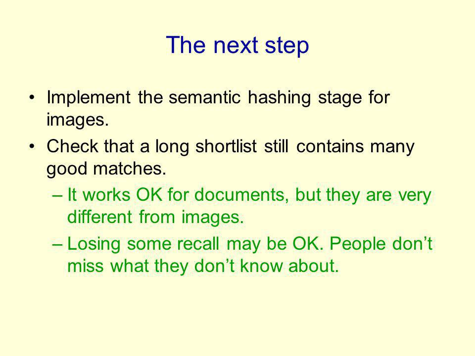 The next step Implement the semantic hashing stage for images.