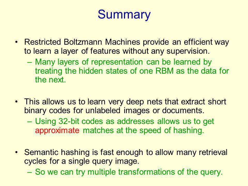 Summary Restricted Boltzmann Machines provide an efficient way to learn a layer of features without any supervision.