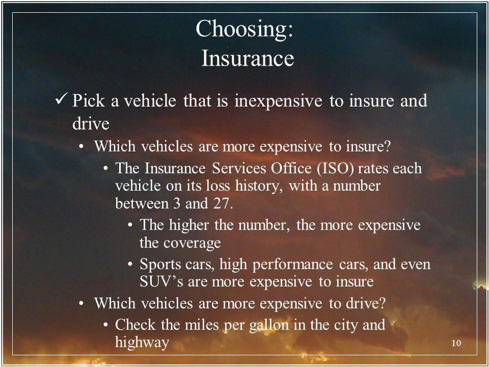Choosing: Insurance Pick a vehicle that is inexpensive to insure and drive. Which vehicles are more expensive to insure