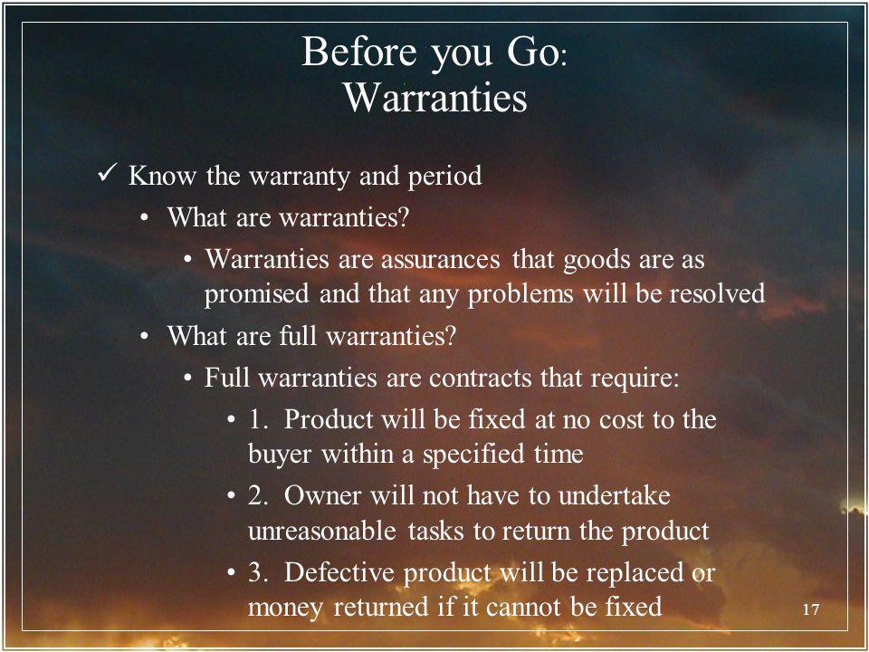 Before you Go: Warranties