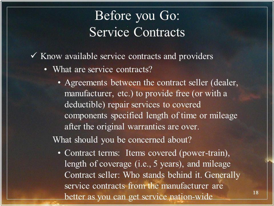 Before you Go: Service Contracts