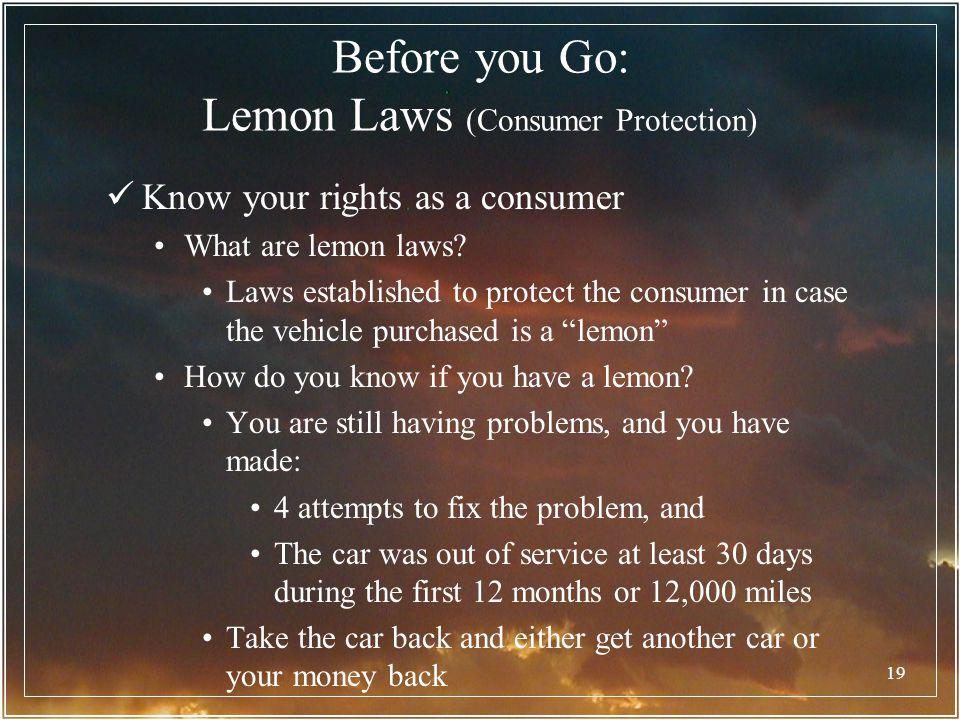 Before you Go: Lemon Laws (Consumer Protection)