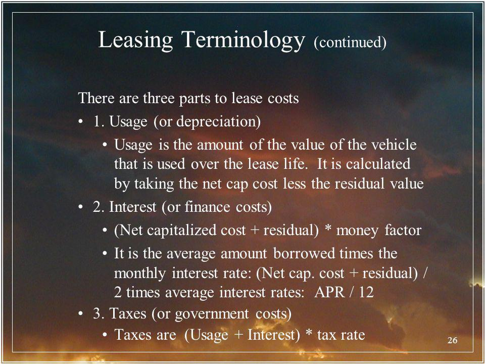 Leasing Terminology (continued)