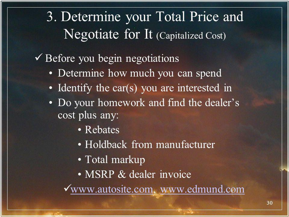 3. Determine your Total Price and Negotiate for It (Capitalized Cost)