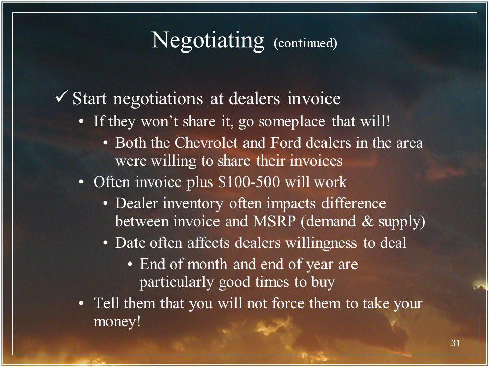 Negotiating (continued)