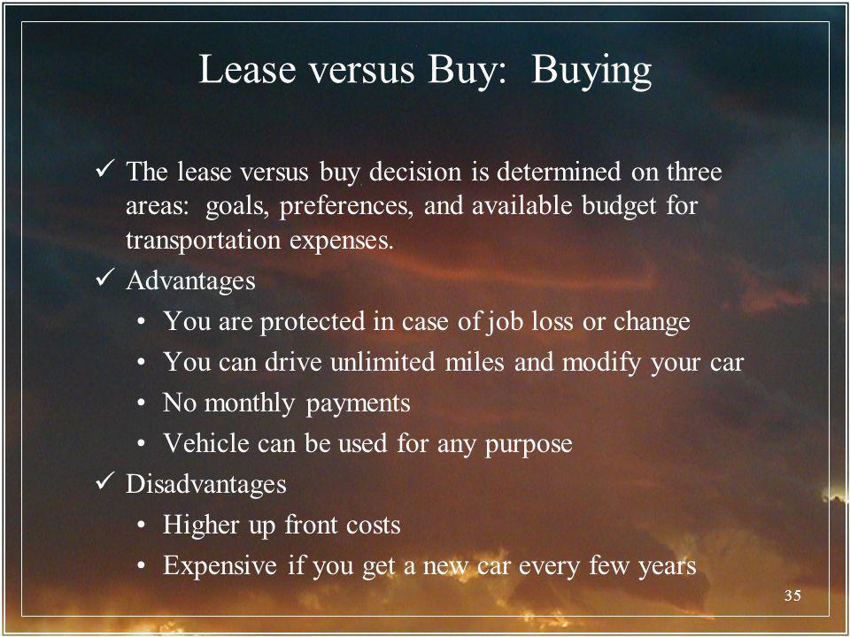 Lease versus Buy: Buying