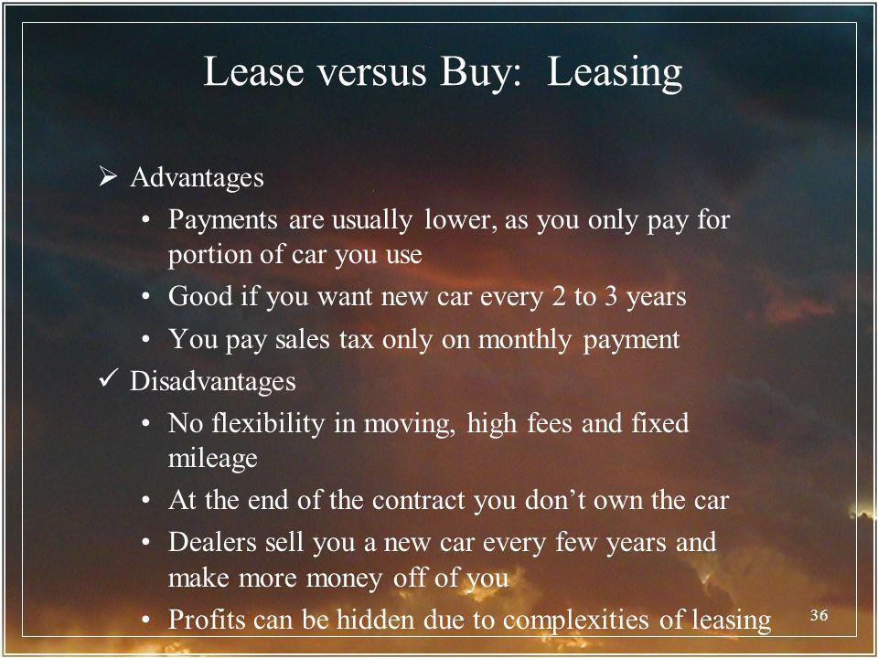 Lease versus Buy: Leasing