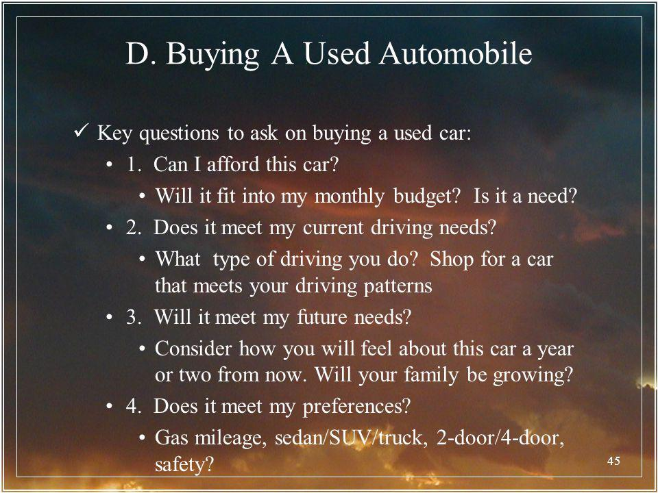 D. Buying A Used Automobile