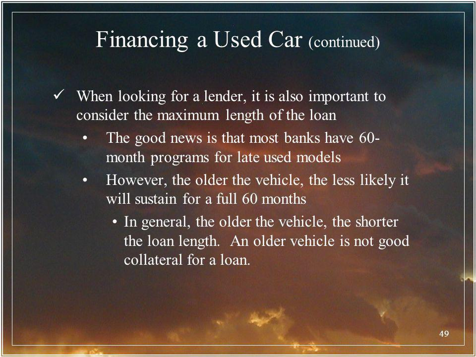 Financing a Used Car (continued)