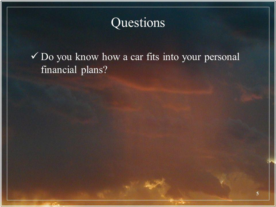 Questions Do you know how a car fits into your personal financial plans