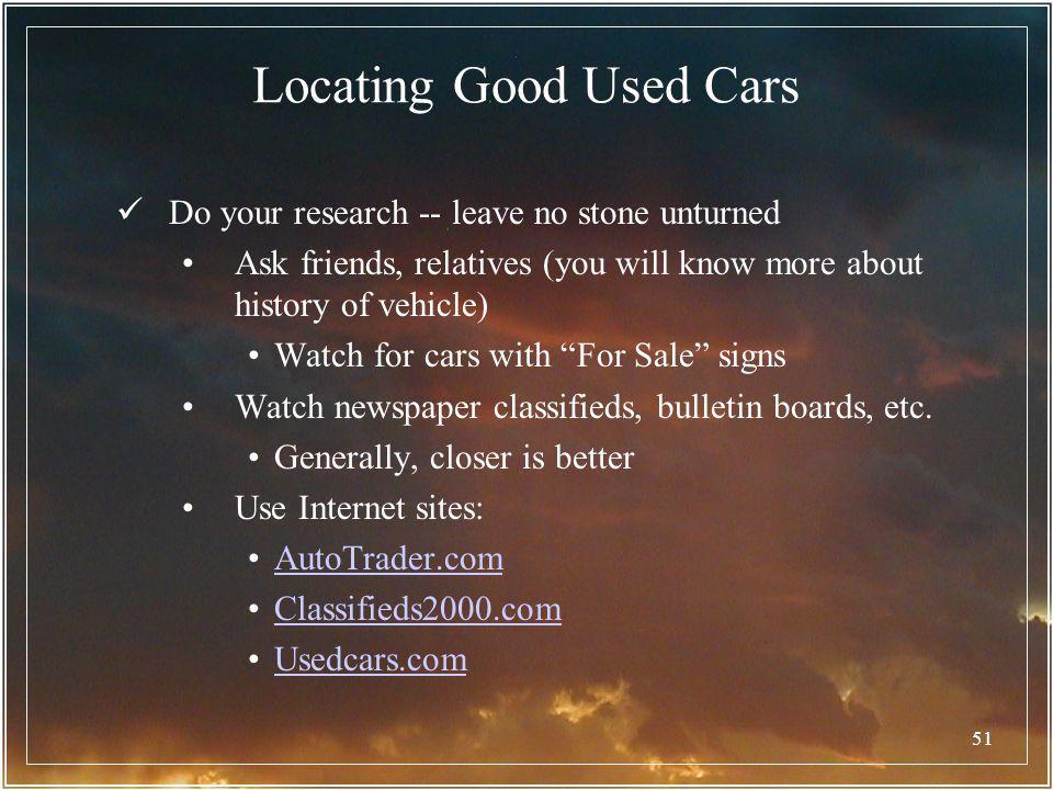 Locating Good Used Cars