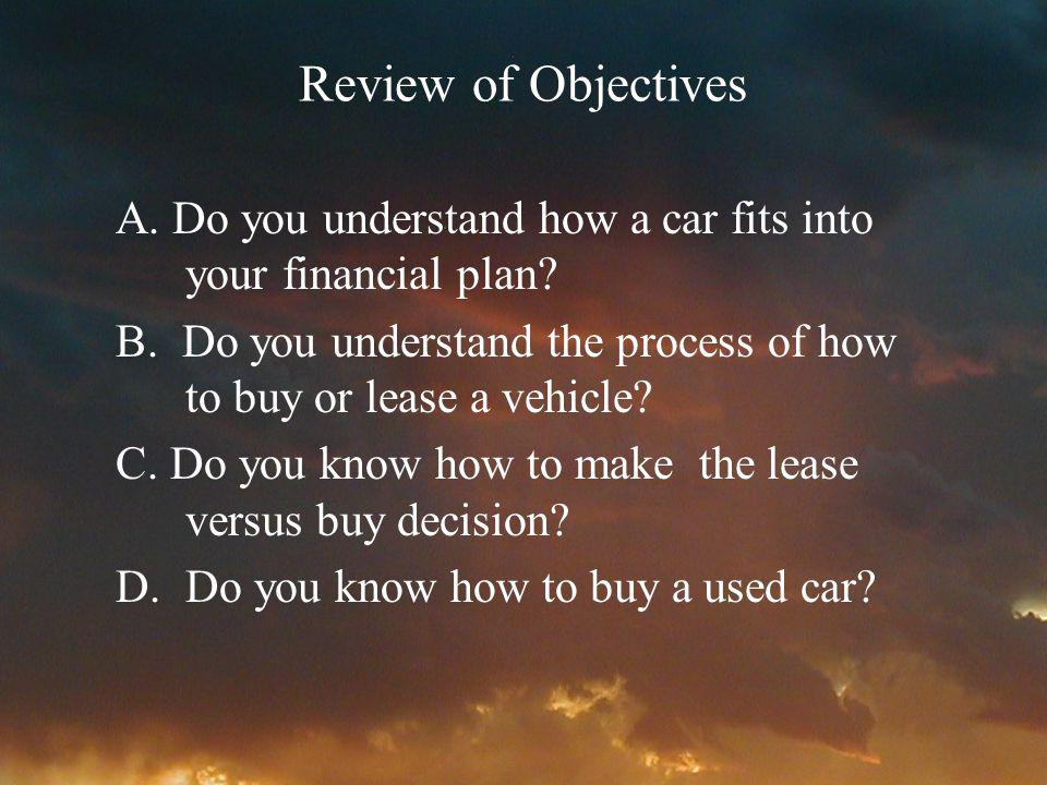 Review of Objectives A. Do you understand how a car fits into your financial plan