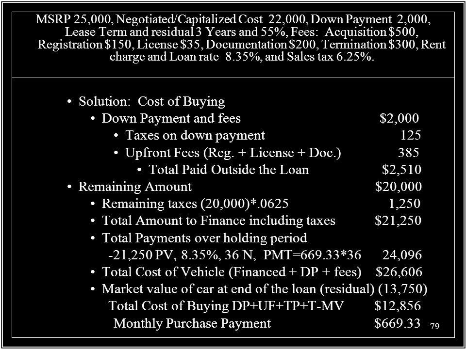 Solution: Cost of Buying Down Payment and fees $2,000