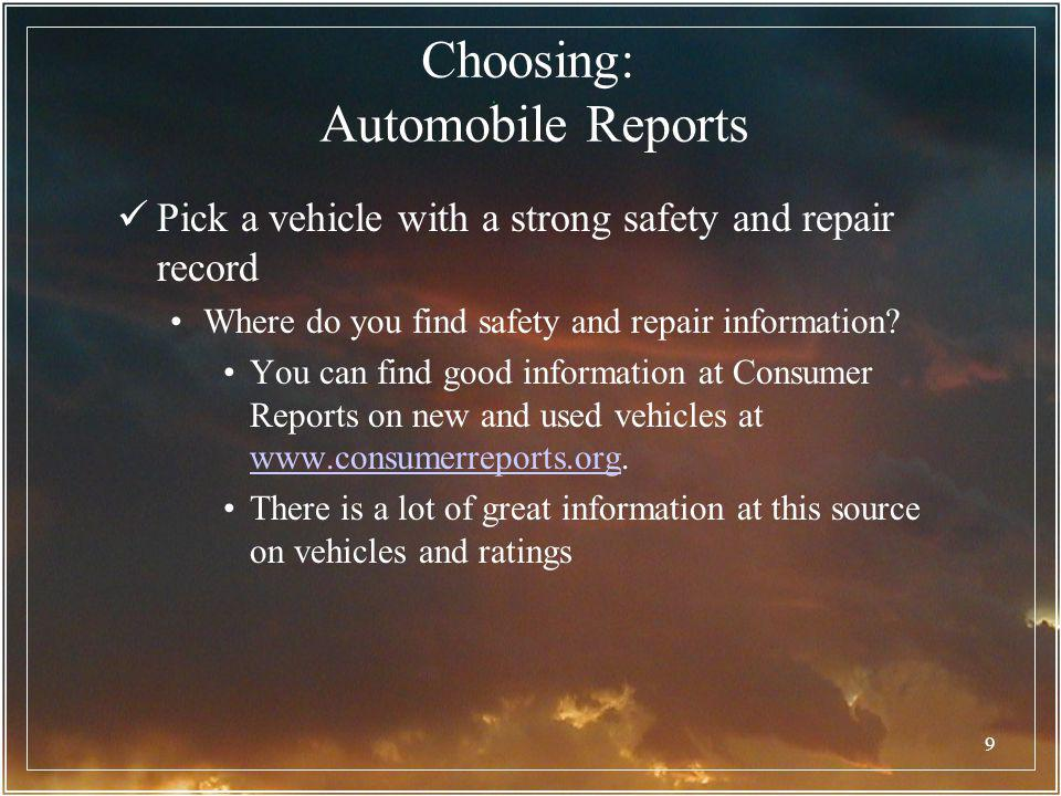 Choosing: Automobile Reports
