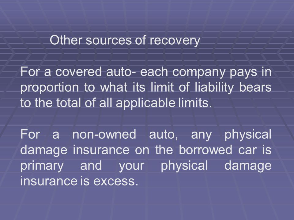 Other sources of recovery