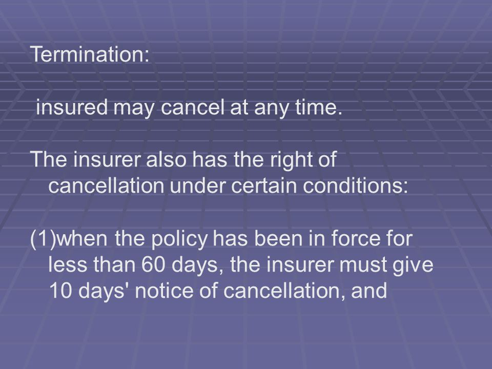 Termination: insured may cancel at any time. The insurer also has the right of cancellation under certain conditions: