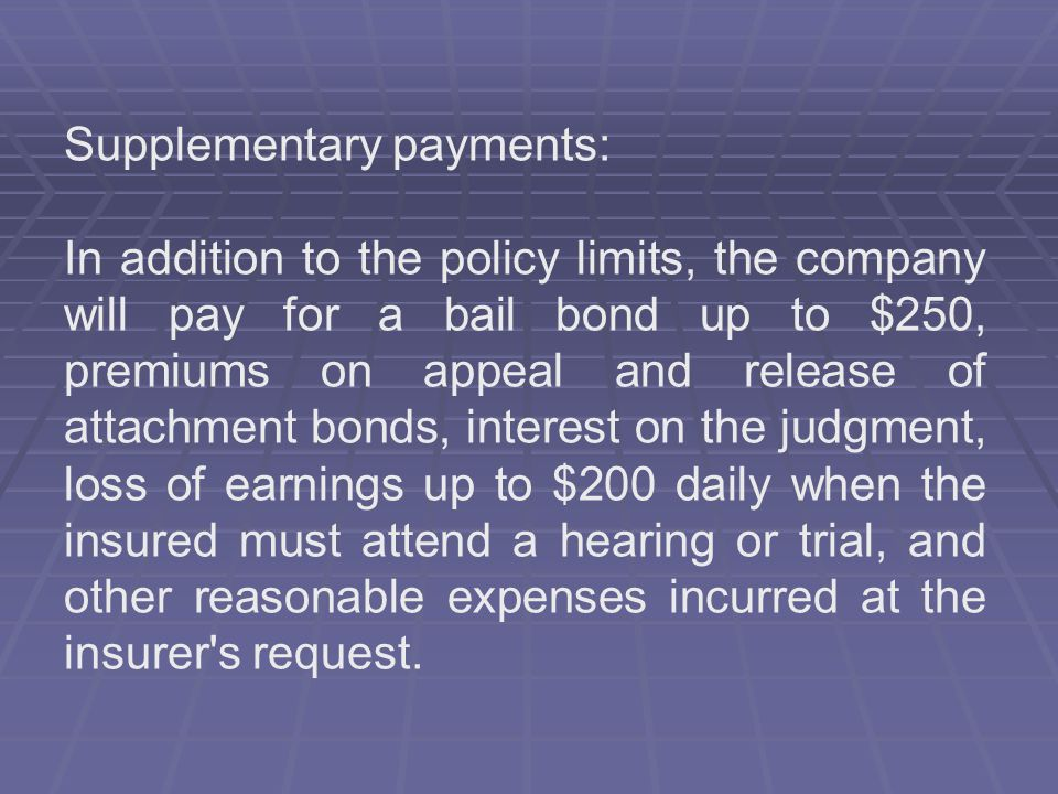 Supplementary payments: