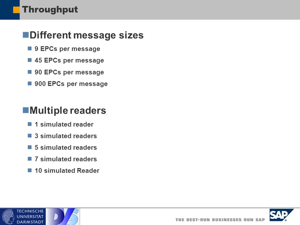 Different message sizes