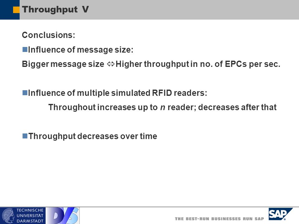 Throughput V Conclusions: Influence of message size: