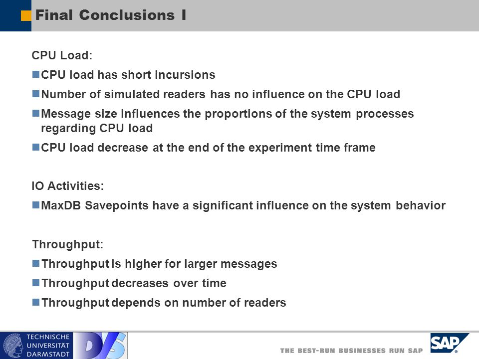 Final Conclusions I CPU Load: CPU load has short incursions