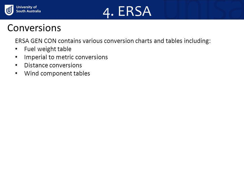 4. ERSA Conversions. ERSA GEN CON contains various conversion charts and tables including: Fuel weight table.