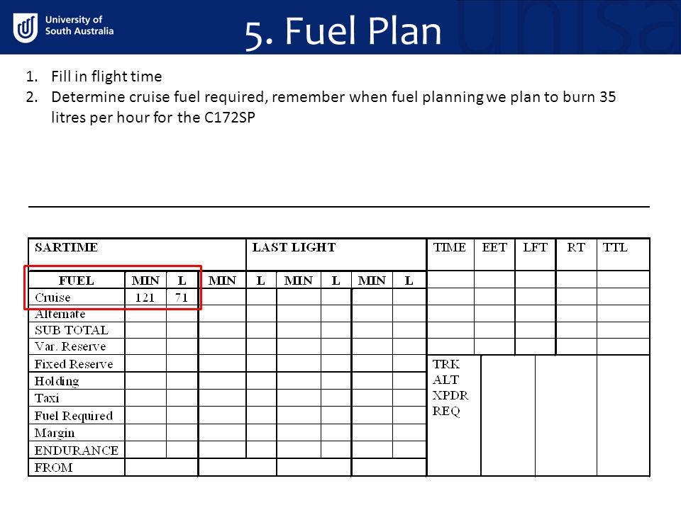 5. Fuel Plan Fill in flight time
