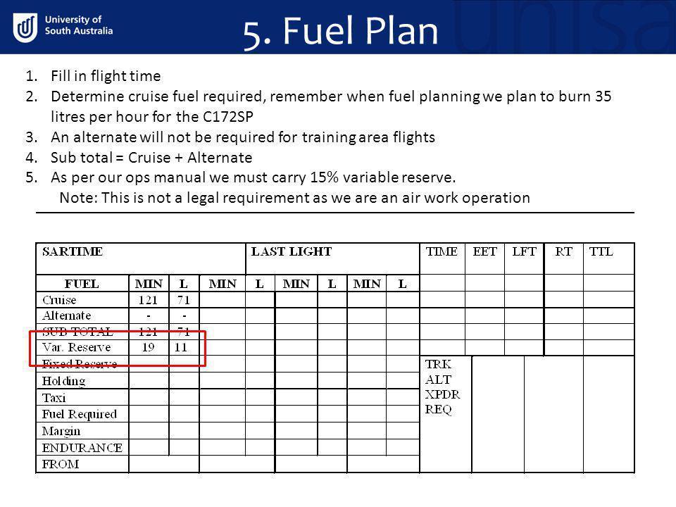 5. Fuel Plan Fill in flight time