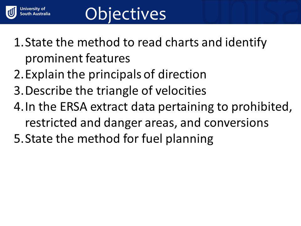 Objectives State the method to read charts and identify prominent features. Explain the principals of direction.